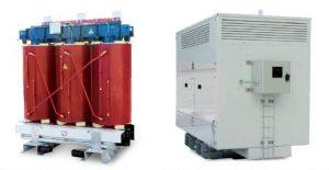 شکل 4: تصویری از ترانسفورماتور خشک MV/LV با و بدون محفظه سمت راست: ترانسفورماتور نوع خشک همراه با محفظه سمت چپ: ترانسفورماتور نوع خشک MV/LV