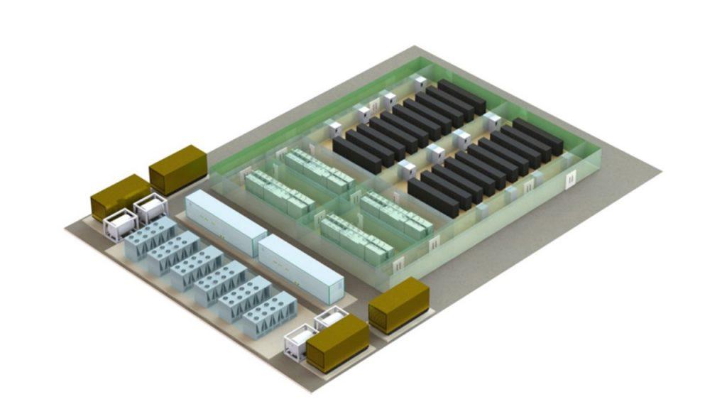 شکل 8: نمونه از مرکزداده نیمه پیش ساخته- ماژول های قدرت و سرمایش به همراه فاضی IT سنتی
