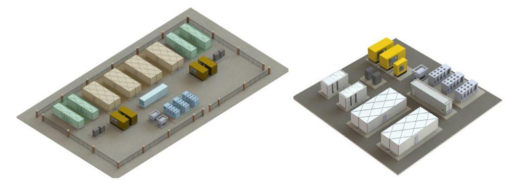 شکل 9: دو نمونه از مراکز داده کاملا پیش ساخته بر مبنای طراحی های اشنایدر الکتریک