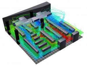 مدل دینامیک سیالات محاسباتی (CFD) سهبعدی از مرکز داده، بیانگر جریان هوا و دما