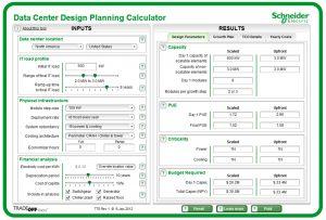 صفحهای از ابزار برنامهریزی مرکز داده، از اشنایدر الکتریک