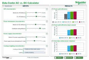 ابزار محاسبهگر مقایسهٔ معماریهای توزیع برق AC و DC در مرکز داده