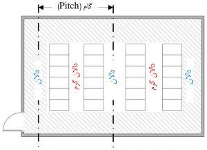 نمایش «گام» (Pitch) در چیدمان ردیفهای مرکز داده