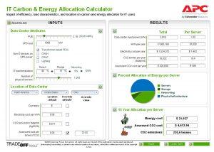 نمونهٔ صفحهٔ خروجی محاسبهگر واگذار کردن کربن و انرژی به فاوای مرکز داده