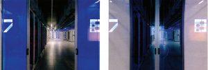 مرکز داده پروژه مرکوری eBay: درهای کشویی در انتهای دالان ۷ و ۸ (باز و بسته)