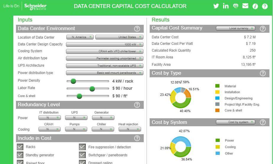 محاسبهٔ هزینهٔ ساخت مرکز داده با نرمافزار شرکت اشنایدر