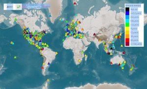 صفحهٔShakeNet که توزیع جهانی Raspberry Shake را نمایش میدهد.