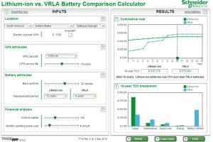 ابزار محاسبهگر مقایسهٔ میان باتری یون لیتیوم و باتری VRLA مرکز داده